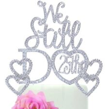 """""""We Still Do 25th"""" Anniversary Wedding Cake Topper With 2 Double Crystal Hearts"""