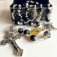 10MM Black Pearl + Bali Sterling Silver Beads Catholic Rosary Cross Necklace box