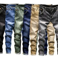 Mens Denim Pants Slim Fit Jeans Retro Long Stretch Skinny Long Jeans Casual 50