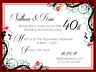 10 X PERSONALISED 40TH ANNIVERSARY PARTY INVITATIONS WITH ENVELOPES