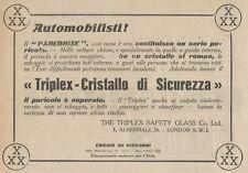 Z1553 TRIPLEX Cristallo di Sicurezza - Pubblicità d'epoca - 1925 Old advertising