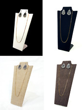 """~9"""" Black White Linen Coffee Color Jewelry Display Stand Easel Necklace Earring"""