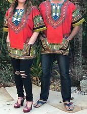Dashiki Men Red Shirt African Hippie Vintage Women Top Haute Tribal Blouse USA