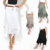 Womens Boho Gypsy Skirt Maxi Drape Long Tiered Cotton Lace Hitched Hem Festival