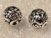 THAI .925 STERLING SILVER VINTAGE 10mm ROUND WEAVED FOCAL BEAD #908 - (1 BEAD)
