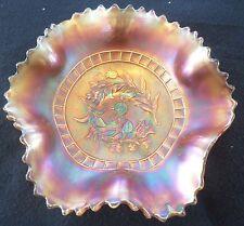 "Vintage Dugan Carnival Marigold Ruffled Bowl Windflower  Ruffled Edge  8 3/4"" D."