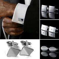 Men Stainless Steel Shirt Cufflinks Jewelry Cuff Links Wedding Party Gifts