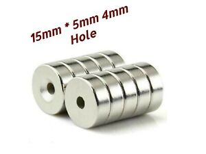 N50 15mm x 5mm Neodymium Magnets Countersunk Ring Hole 4mm Rare Earth