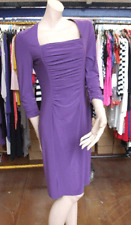 Joseph Ribkoff BNWT UK 10 impresionantes púrpura Ruche Manga 3/4 Vestido de estiramiento jersey
