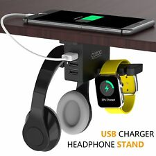 Headphones Stand with USB Charger COZOO Under Desk Headset Holder Mount Dual