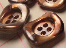 "12 Bronze Buttons Vintage Italian Marbelized Effect Deep Set 4 Hole Plastic 1"""