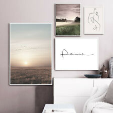 Filed Sunset Nature Landscape Poster Canvas Wall Print Nordic Decoration Picture