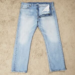 Vintage Levis 501 Button Fly Jeans Light Stone Wash Mens Sz 40x30 Distressed
