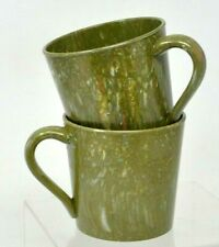 Vintage Lenox Ware Lenotex Melamine Mug Set AVOCADO GREEN Speckled