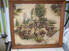 VTG Cloth 3-D Relief Folk Art Nature Deer Linen Wood Frame Hunter LAMBERT FRAME
