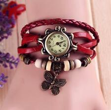 Women's Boho Vintage Faux Red Leather Watch with Butterfly Charm