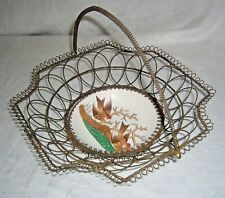 ANTIQUE 1800's VB WALLERFANGEN FAIENCE BIRDS BRIDES TWISTED & COILED WIRE BASKET