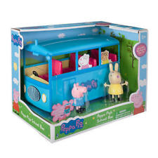Peppa Pig Miss Rabbit 5 Seat School Bus Toy Car Play Set Removable Roof & Music