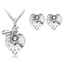 Wedding Jewellery Set White Bridal Crystal Hearts Stud Earrings Necklace S232