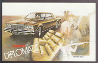 1979 DODGE DIPLOMAT Sensibly Yours Ad Card POSTCARD Unused New Vintage Old Stock