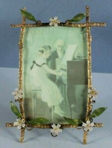 ANTIQUE Miniature COLD PAINTED BRASS FRAME VICTORIAN Wild Flowers w Leaves