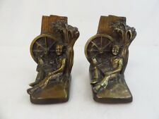 Vintage Huck Finn Metal Bookends Philadelphia Manufacturing Company Marked PMC87