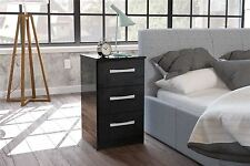 Birlea Lynx High Gloss All Black 3 drawer bedside cabinet chest  bedroom new