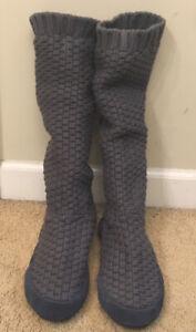 Unisex LL Bean Gray Sweater Slip-On Slippers Size M (Men 9/10 Women 10.5/11.5)