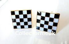 ZP454 Masonic Masons Cufflinks Freemason Checkered Mosaic Solomon FREE UK POST