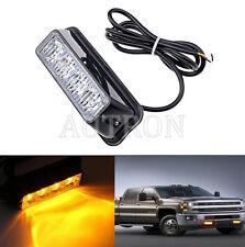 1x4 LED Flash Vehicle Grill Strobe Emergency Warn Side lamp light Amber 12/24V