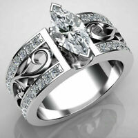 Women Fashion 925 Silver Wedding Rings Marquise Cut White Sapphire Size 5-10