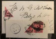 1891 British Honduras Wrapper cover Rare Dual BI Sec Stamp Domestic Used