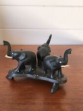 Vintage Ebony Carved Elephants Set Of Three On Stand Figurines