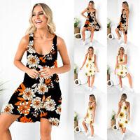 ❤️Women Boho Floral Sleeveless Mini Dress Ladies Summer Beach Sundress Long Tops