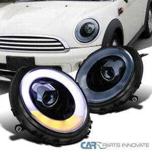 For 07-13 Mini Cooper Glossy Black LED Halo Projector Headlights Lamp Left+Right