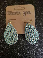 Handmade Teal And Gold Glitter Teardrop Earrings