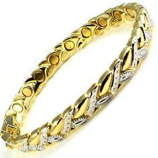 Womens MAGNETIC BRACELET carpal tunnel arthritis pain Ladies leaf gold silver