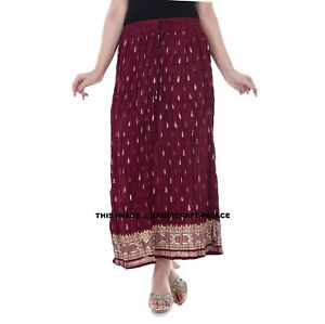 Indian Cotton Women Fashion Long Skirt Bohemian High Waist Skater Maroon Dress