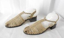 STUART WEITZMAN T strap Sandals Shoes size 5 1/2 5.5 gold fabric block heel