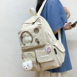 White Bear Transparent Pocket Backpack Kawaii Teddy Multi Pocket Cute Travel Bag