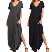 Women's Summer Casual Home Work T-Shirt Long Maxi Loose Loungewear Beach Dress
