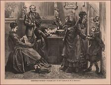 CHRISTMAS, WRAPPING SECRET PRESENTS FOR THE CHILDREN, antique engraving 1875