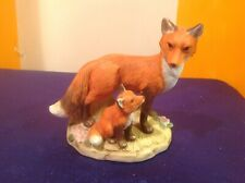 vintage Homco bisque porcelain mother and baby fox