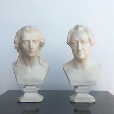 Deux bustes en biscuit les  poètes Allemands Schiller et Goethe XIXème