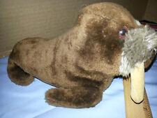 """Vintage 1975 Dakin Plush 9"""" Walrus Brown Nutshell Stuffed Animal Tusk Korea"""