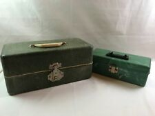 2 Vintage Fishing Tackle Boxes Simonsen Plano Plastic Marbled Green