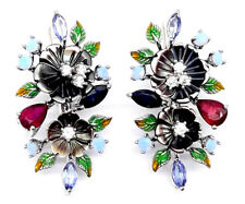 925 Silber Ohrringe Weißgold beschichtet Perlmuttblumen Dyed Opal Saphir Rubin