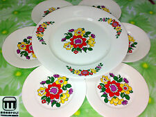 Set servizio 6 piatti da dolce porcellana MONOPOLI nuovo vintage anni 70