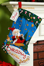 "Bucilla Christmas Swing ~ 18"" Felt Stocking Kit #86185 Santa, Elf, Discontinued"