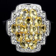 Ring Citrin & CZ 925 Silber 585 Weißgold vergoldet Gr. 58